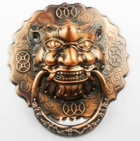 Cheap Antique lion head door knocker handle Chinese unicorn beast Grip diameter 12cm/14cm