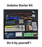 Free shipping UNO R3 Starter  KIT Microcontroller learning kit Step Motor Servo 1602 LCD Breadboard jumper Wire for arduino Kit