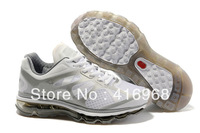Free Shipping Max 2012 Women's Running Shoes White Silver Air Mesh Fashion Sport Shoes