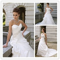 Custom-made Hot Sale Beaded A-line Ruched Satin MMI-444 Wedding Dress Free shipping