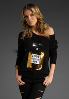Women Autumn Winter long-sleeved T-shirt Wildfox sweater shirt no 9 perfume bottle sequin sweater