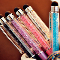 Free Shipping ballpoint pen crystal pen small diamond pieces lovers signature  touch ballpoint pen stationery pen
