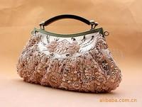 FREE SHIPPING Fashion Champagne  Ladies Beaded Clutch Evening Bag Handbag Make up bag Purse Handmade Flowers B0026