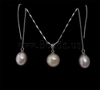 Free shipping!!!Natural Cultured Freshwater Pearl Jewelry Sets,Newest Design, earring & necklace, with Brass, Round, natural