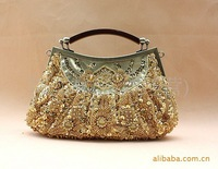 FREE SHIPPING Fashion Gold Ladies Beaded Clutch Evening Bag Handbag Make up bag Purse Handmade Flowers B0030