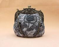 2013 Fashion Gray Womens Beading Evening Bag Handbag Make up bag Purse Handmade Flowers B0041
