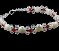 Free shipping!!!Cultured Freshwater Pearl Bracelet,Famous Jewelry, with Crystal, brass lobster clasp, natural, white, 7-8mm