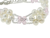 Free shipping!!!Cultured Freshwater Pearl Bracelet,Designer Jewelry 2013, with Crystal & Glass Seed Beads, brass lobster clasp