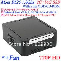 Windows small form pc with bluray Slim ODD CDROM INTEL ATOM D525 1.8Ghz COM LPT Intel GMA3150 graphics MINI PCIE 2G RAM 16G SSD