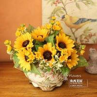 Fish smile sunflower fashion vase artificial flower set flowers artificial flower decoration flower