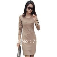 Free Shipping 2013 New Full Women's Slim Patchwork Elegant One-piece Dress Plus Size S,M,L,XL,XXL RG1308748