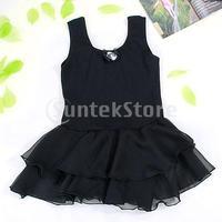 Free Shipping Girl Chiffon Ballet Dance Dress Gymnastic Tutu 7-8 Yrs - Black