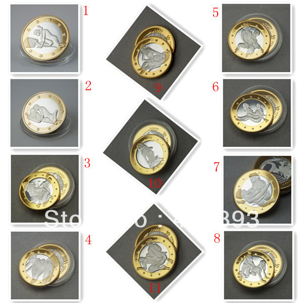 [MIX] Total 11 pieces sex 6 Euros coins mix order,Free shipping 11pcs/lot silver gold plated Coin,mix Russia design order(China (Mainland))