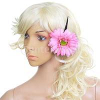Free Shipping Women Girls African Daisy Flower Hair Clip w/ Long Alligator Clip - Pink
