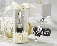 Chrome Fleur de Lis Elegant Wine Bottle Stopper 30PCS/LOT wedding favors and gifts Free shipping