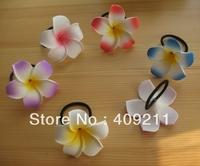 NEW ARRIVAL !  FREE SHIPPING +KL811  +  7-8cm dia  Foam Plumeira w Elastic Holder+ 300pcs MIXED COLORS  HAWAIIAN Flower