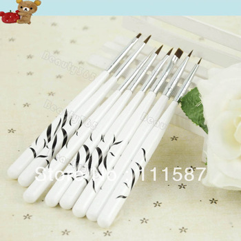 8Pcs Nail Art Design Polish Brush Painting Pen Set Drawing Liners Tool White 15452