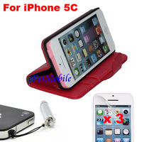 New Slim Wallet Stand Case Mobile Phone Leather case + Screen Protector + Pen For iPhone 5C