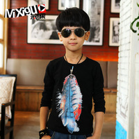 New Arrival Male child spring and autumn children's clothing 2013 child long-sleeve T-shirt child black top cm1a11