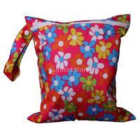 Free Shipping Waterproof Zipper Closure Washable Reusable Baby Cloth Diaper Bag w/ Flowers Pattern Fuchsia