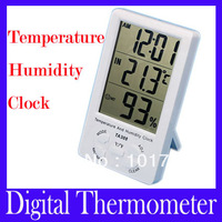 Free shipping Digital LCD large screen electronic hygrometer with clock household thermometer TA308 with retail package,2pcs/lot