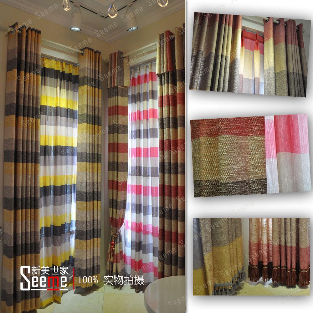 Qualidade red stripe cortina moderna moda infantil verdadeiro(China (Mainland))