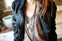 SEPN5914 Fall Winter Jewelry Collection Romantic Leaf Long Chain Necklace For Girls And Women Free Shipping