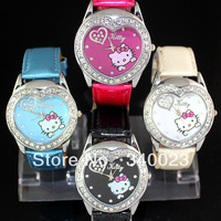 Free Shipping, 4PCS NEW Lovely Cute Hello Kitty Girls Ladies Womens Crystal Quartz Wrist Watch Heart Shaped Watch Nice Gift