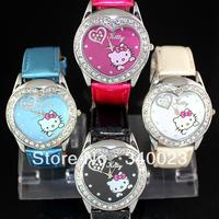 Free Shipping, 4PCS NEW Lovely Cute Hello Kitty Girls Ladies Womens Crystal Quartz Wrist Watch Heart Shaped Watch Nice Gift