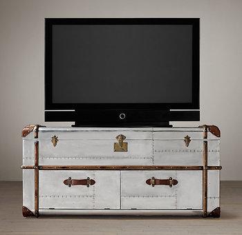 Reminisced american style vintage loft tv cabinet aluminum panel rivet tv cabinet