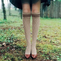 Autumn and winter woman  socks preppy style over-the-knee socks 100% cotton  stocking socks vintage boot socks free shipping
