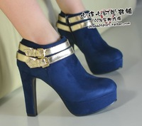Autumn new arrival 2013 personalized double paillette cloth decoration velvet brief thick heel boots high-heeled shoes