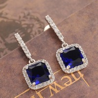 Brand Women Jewelry Blue Sapphire Stone Cubic Zirconia Micropave Drop Dangle Earrrings Free Shipping