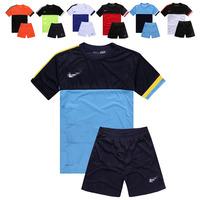 Paintless football training suit short-sleeve jersey set plain jersey diy men sccoer suit