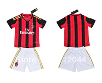 13-14  AC MILAN  Home   Red - black stripes   Kids /  Youth  soccer  jersey  soccer uniform kit  Embroidery logo   Free Shipping
