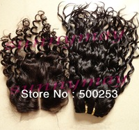 "Sunnymay  4""*4"" Lace Closure And  Hair Weft Sale In Human Hair Lot Natural Color Curly Virgin Remy Brazilian Hair Extension"