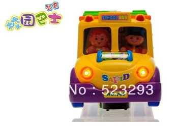 Wholesale Baby Plastic Toy /Children Educational Toys /Big School Bus /Green Material Electric Toy