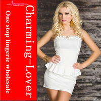 2013 new arrive  White Peplum dress wholesale white with rinestone decoration_from charming-lover