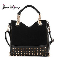 Wholesale 2013 Korean Fashion Women Rivet Studded handbag Lady Tote bag Womne  Shoulder Messenger bag Female Hobo motorcycle Bag