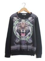 East Knitting SE-020 2013 New harajuku casual pullovers tiger head hoodies digital printed tops women's turtleneck sweatshirts