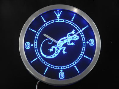 nc0414-b Gecko Lizard Display D?cor Bar Beer Neon Sign LED Wall Clock