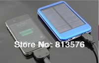 4 colors 5000mah portable solar power bank USB external solar battery panel charger for phone with retail box free shipping