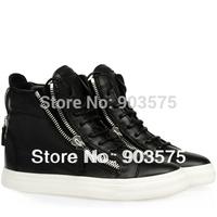 Free shipping 2014 fashion real leather designer zipper high top  women's men black white sneakers