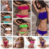 10Pcs/Lot Hot Sale Swimwear Women Padded Boho Fringe Bikini Set New Swimsuit Lady Bathing suit