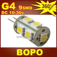 Free shipping BOPO LED G4 9Pcs SMD5050 tower AC / DC 12V or DC10~30V  crystal lamp Marine Camper Car Bulb Lamp