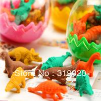 NOVELTY ITEMS Stationery dinosaur egg multicolour mini eraser set Free shipping 160pcs/lot
