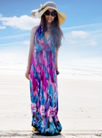 048 bohemia halter-neck full dress beach dress plus size one-piece dress-1C04B