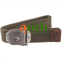 Adjustable Military Style Rigid Canvas Webbing Belt Trouser Strap with Quick Fastening Metal Buckle 124cm