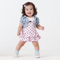 266 denim short jacket one-piece dress summer baby set 2013 baby clothes set fashion girl polka dot suit (jacket+dress)