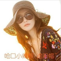 2013 new style fashionable women summer caps sun hats, leisure hat Uv protection beautiful floppy straw hat J-025